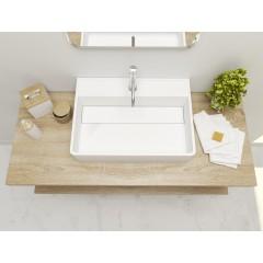 BLANC oválne umývadlo z liateho mramoru  60 × 15 × 43 cm
