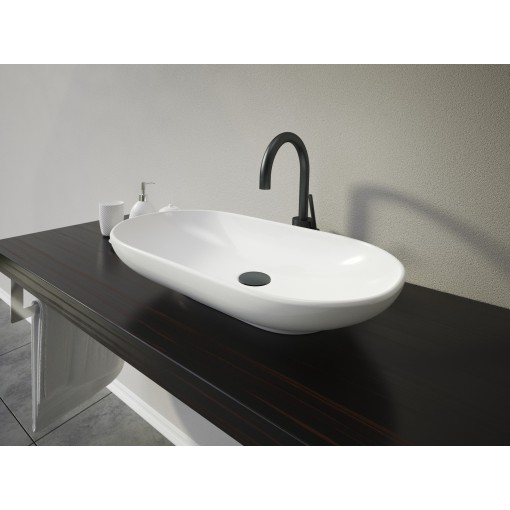 KARMA oválne keramické umývadlo 64 × 13,7 × 35 cm