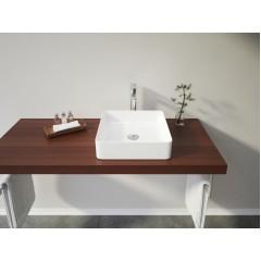 PANDORA hranaté keramické umývadlo so zaoblenými rohmi 40,5 × 40,5 × 11 cm