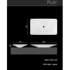 PLAY umývadlo z liateho mramoru 60x46 cm, biele