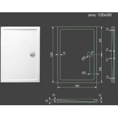 SMC 120x90cm sprchová vanička z tvrzeného polymeru