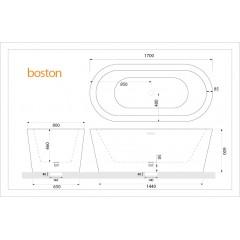 Volně stojící akrylátová vana BOSTON 170x80 cm