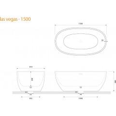 Volně stojící akrylátová vana LAS VEGAS 150x80 cm