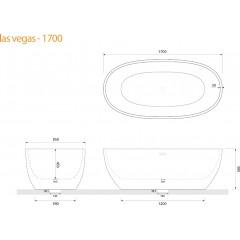 Volně stojící akrylátová vana LAS VEGAS 170x85 cm