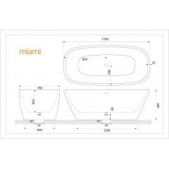 Volně stojící akrylátová vana MIAMI 170x78 cm