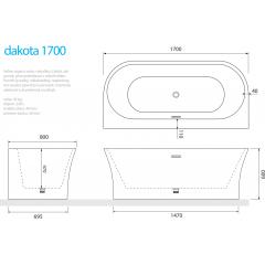 Voľne stojaca akrylátová vaňa DAKOTA 170x80 cm