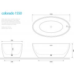 Volně stojící akrylátová vana COLORADO 155x85 cm