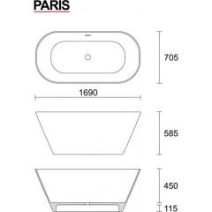 PARIS 169x70,5 cm kúpacia vaňa z liateho mramoru