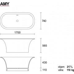 AMY 170 × 56 cm kúpacia vaňa z liateho mramoru