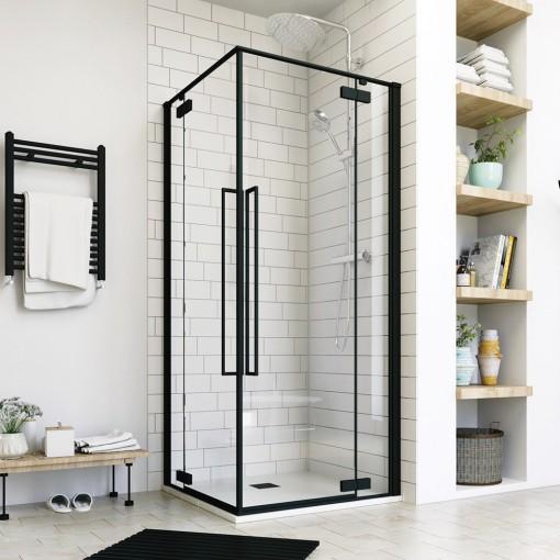 JAGUAR A4 90 × 90 Sprchovací kút rohový vstup, čierny matný, číre sklo 8 mm, 90 × 90 × 200 cm