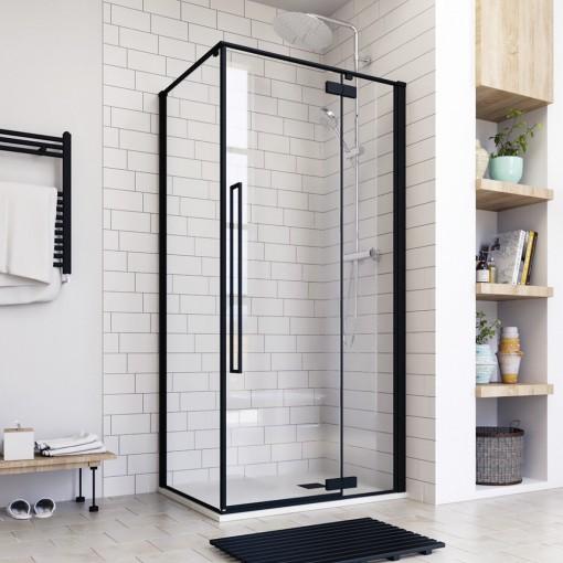 JAGUAR R13 100 × 80 Sprchovací kút čierny matný, číre sklo 8 mm, 100 × 80 × 200 cm