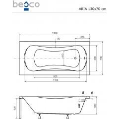 Akrylátová vaňa ARIA 130 × 70 cm