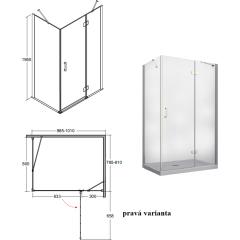 VIVA obdĺžniková sprchová zástena 100x80x195cm, L / P variant