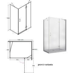 VIVA obdĺžniková sprchová zástena 120x90x195cm, L / P variant