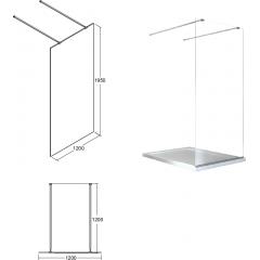 AVEO DUE 120 sprchová zástena WALK IN, 120x195 cm