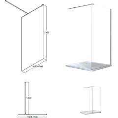 AVEO 110 sprchová zástena WALK IN, 110 – 112,5 cm × 195 cm