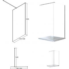AVEO 120 sprchová zástena WALK IN, 120 – 122,5 cmx195 cm