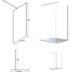 AVEO 90 sprchová zástena WALK IN, 90 – 92,5 cm × 195 cm