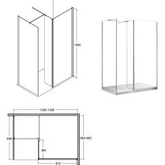 INDRE 140 sprchová zástena WALK IN, 140x90x195 cm