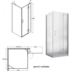 VIVA štvorcová sprchová zástena 80x80x195cm, L / P variant