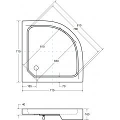 ALEX štvrťkruhová sprchová vanička 70 × 70 × 4 cm