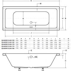 Akrylátová vaňa QUADRO SLIM 155 × 70 cm
