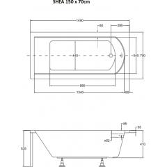 Akrylátová vaňa SHEA 150 × 70 cm
