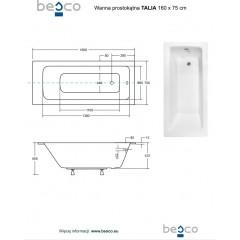 Akrylátová vaňa TALIA SLIM  160x75 cm