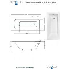Akrylátová vaňa TALIA SLIM  170x75 cm