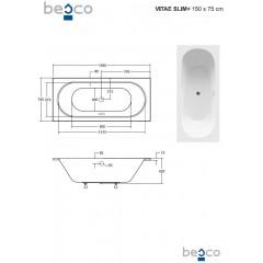 Asymetrická vaňa VITAE SLIM PLUS 150 x 75 cm