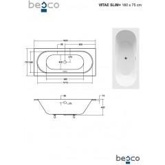 Asymetrická vaňa VITAE SLIM PLUS 160 x 75 cm
