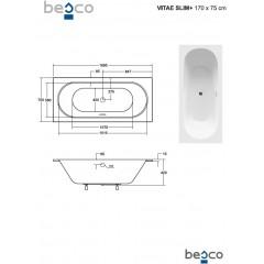 Asymetrická vaňa VITAE SLIM PLUS 170 x 75 cm