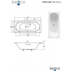 Asymetrická vaňa VITAE SLIM PLUS 180 x 80 cm