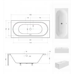 Akrylátová vaňa VITAE 150 × 75 cm