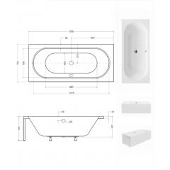Akrylátová vaňa VITAE 160 × 75 cm