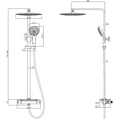 Sprchový set vrátane termostatické batérie GRANDE VITA BLACK