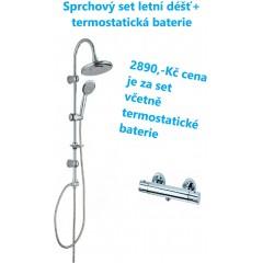 Sprchová súprava vrátane termostatickej batérie s rozstupom 150 mm – letný dážď