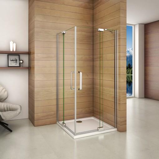 Obdĺžnikový sprchovací kút AIRLINE R908, 90 × 80 cm, s dvomi jednokrídlovými dverami s pevnou stenou, rohový vstup