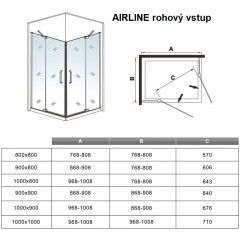 Obdĺžnikový sprchovací kút AIRLINE R908, 90 × 80 cm, s dvomi jednokrídlovými dverami s pevnou stenou, rohový vstup vrátane sprchovej vaničky z liateho mramoru
