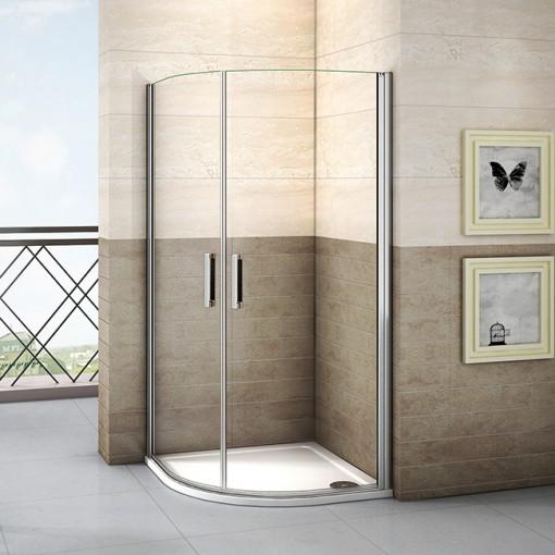 Štvrťkruhová sprchová zástena LUREN S2 90 cm, číre sklo, R550