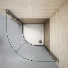 Štvrťkruhová sprchová zástena LUREN S2 90 cm, číre sklo, R550 vrátane sprchovej vaničky z liateho mramoru