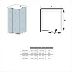Obdĺžnikový sprchovací kút MELODY B5 120 × 80 cm s jednokrídlovými dverami s pevnou stenou, vrátane sprchovej vaničky z liateho mramoru