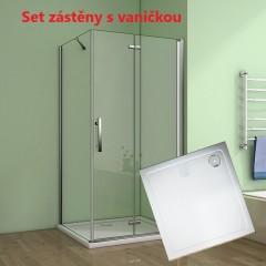 Obdĺžnikový sprchovací kút MELODY 90 × 80 cm so zalamovacími dverami vrátane sprchovej vaničky z liateho mramoru