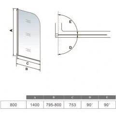 Vaňová zástena S11 FLAG 80 × 140 cm – jednodielna sklopná, číre sklo