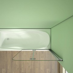 Vaňová zástena S22 120 × 140 cm – dvojdielna sklopná, číre sklo