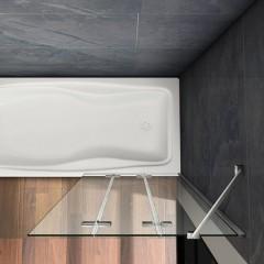 Vaňová zástena S3 CLEAR 100 × 140 cm – trojdielna sklopná, číre sklo
