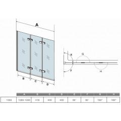 Vaňová zástena S33 130 × 140 cm – trojdielna sklopná, číre sklo