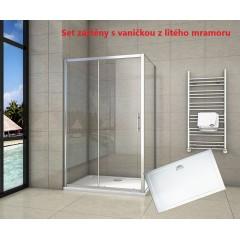 Obdĺžnikový sprchovací kút SYMPHONY 140 × 90 cm s posuvnými sprchovými dverami vrátane sprchovej vaničky z liateho mramoru