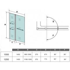 Vaňová zástena s pevnou stenou V2 100 cm, číre sklo