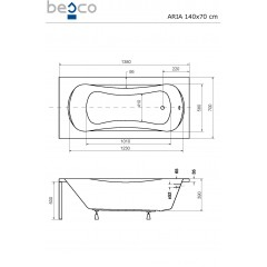 Akrylátová vaňa  ARIA 140 × 70 cm